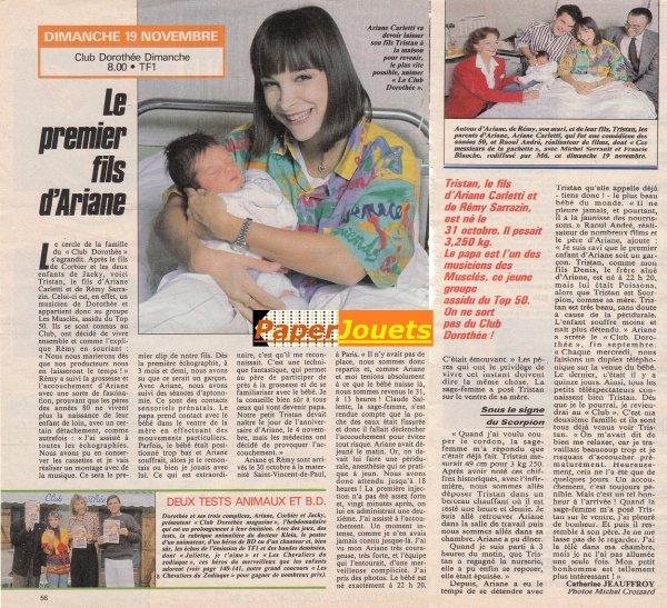 L'évènement 1989 au ClubDo: Naissance de TRISTAN (Télé7jours du 18 au 24 nov.1989)