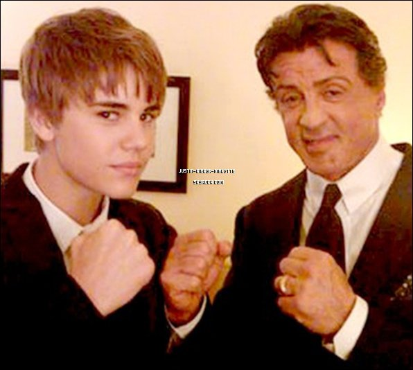 Justin et Sylvester Stallone (Rocky) au Golden Globes ≠STRONG