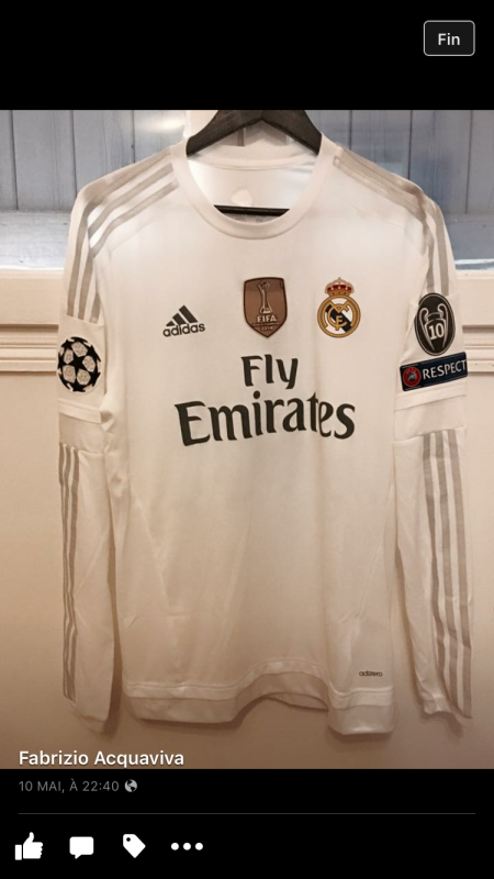 Maillot porté CR7 Real UCL 15/16