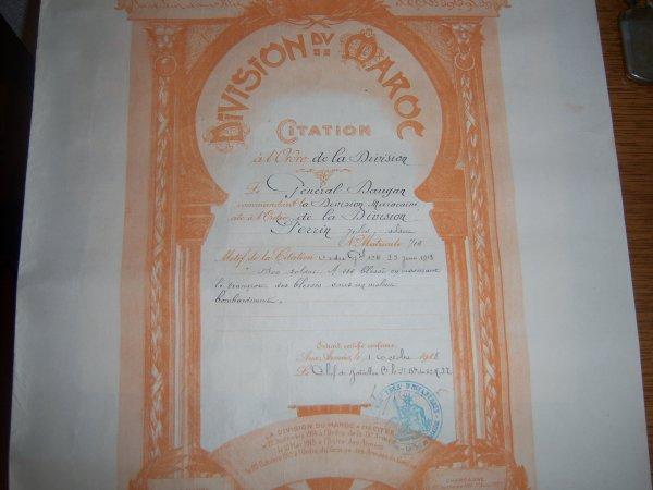Citation à l'ordre de la division marocaine