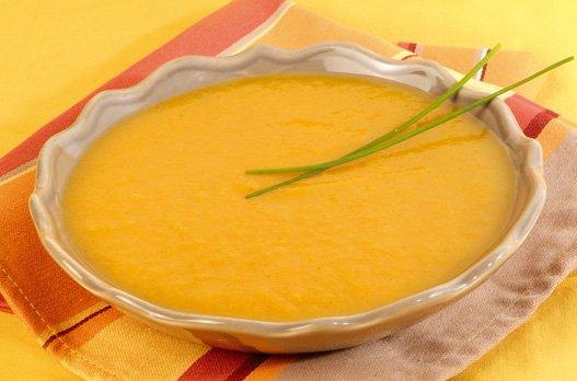 Soupe de potiron au fromage frais et ciboulette