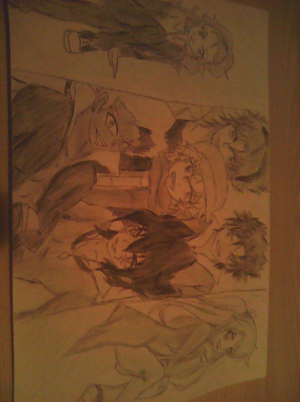 Cam(à gauche)/Ryuga(enbas à gauche)/Akano(au milieu)/Daiki(en haut a gauche)/Makoto(en haut a droite)/Kyoya(en bas à gauche)/Henna(a droite) Dessin des perso du rp avec K-CHAN ❤