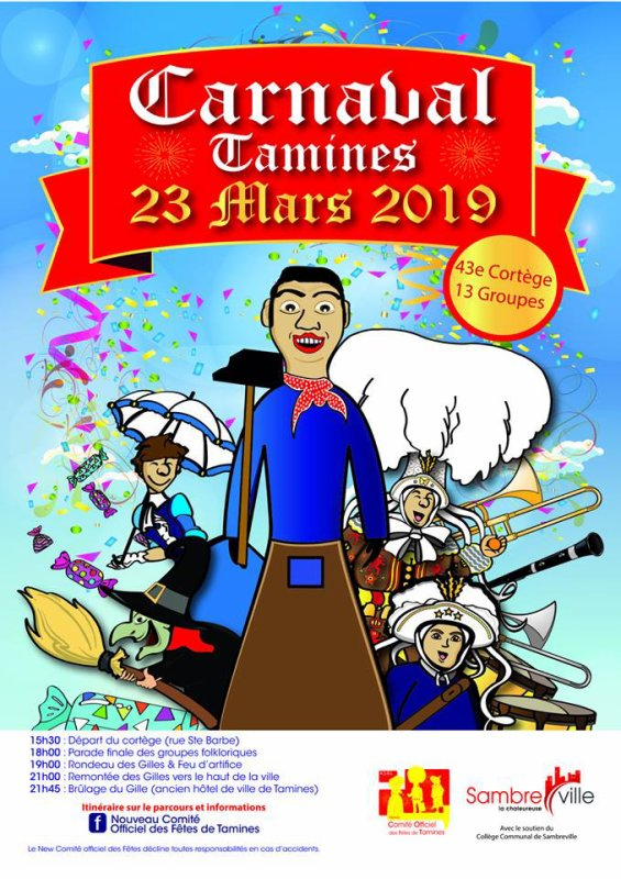 je serait absent du 24 mars au 25 mars 2019 je serait au carnaval de tamines