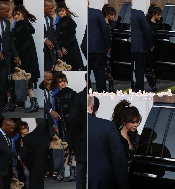 13/02/18 : Selena a été vue quittant le défilé de Coach pour la Fashion Week située à New York.  Je n'aime toujours pas sa robe mais j'aime bien son manteau. Je lui accorde un petit bof! Ton avis?
