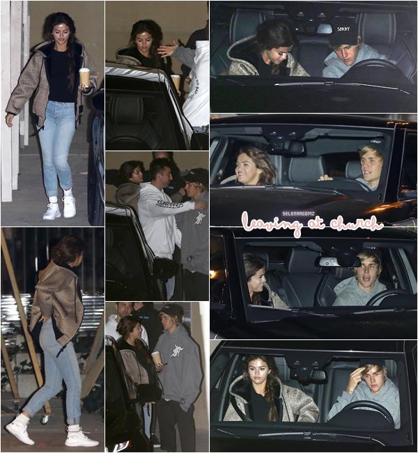 21/02/18 : Selena Gomez à été aperçue arrivant à une église située à Beverly Hills, en Californie. Elle à ensuite été vue quittant l'église avec son boyfriend Justin Bieber! Côté tenue, c'est un top pour Selena! Ton avis?