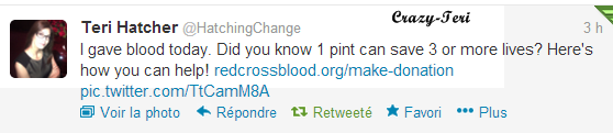 Teri à donné son sang aujourd'hui