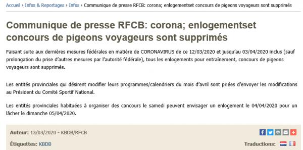 Actualité Coronavirus