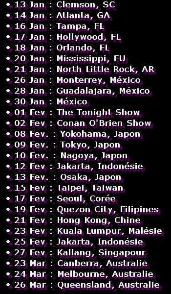 "Tournée 2012 - Album ""Evanescence"""
