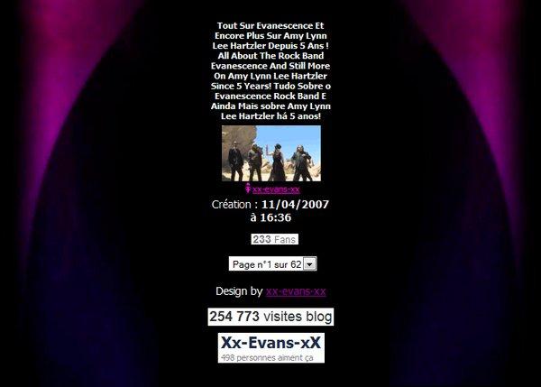 Xx-Evans-xX.Skyrock.Com, 5 ans d'actualités sur Evanescence!