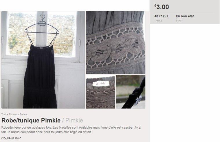 Robe/tunique noire Pimkie