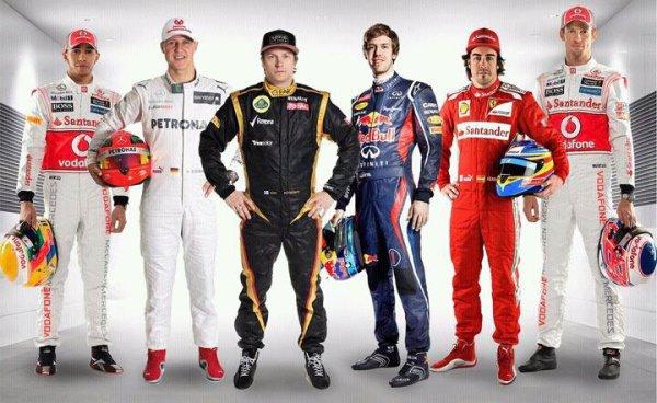 Six champions du monde de F1 : Lewis, Michael, Kimi, Sebastian, Fernando & Jenson