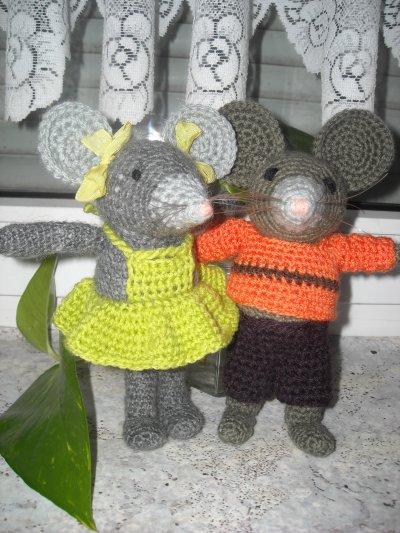 un couple de petite souris (15cm)