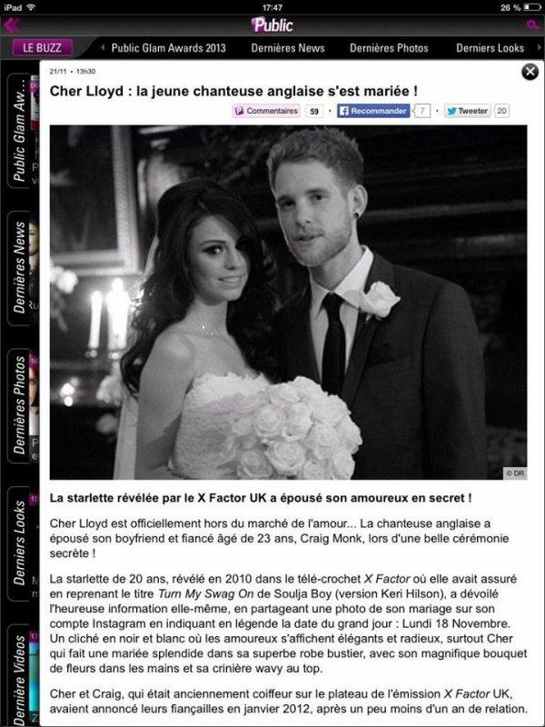 Cher Lloyd et Craig monk marié!!!