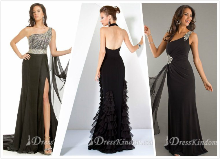 The imagination of the black and purple evening dress