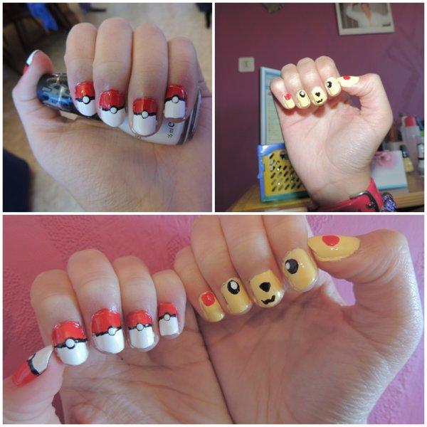 ✦ Pikachu & pokeball nail art. ✦