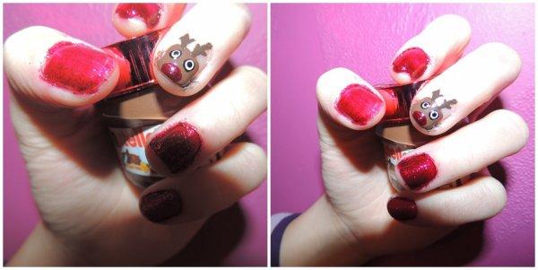 ✦ Rudolph nail art.  [Christmas nail art]✦