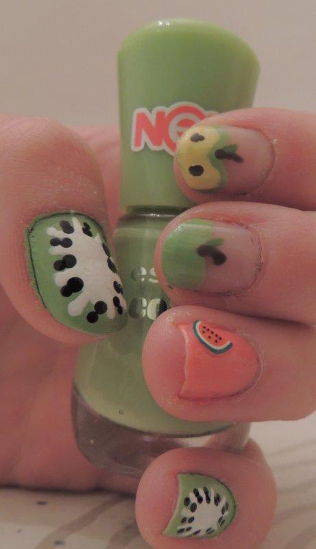 ✦ Kiwis, pommes & pastèque - Nail art fruité. ✦