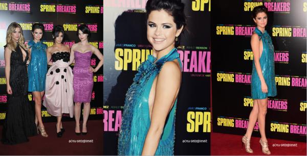 18 février 2013 : Selena, Ashley, Vanessa et Rachel à la première de Spring Breakers, à Paris