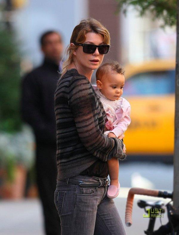 Ellen Pompeo de sortie avec sa fille Stella. New York