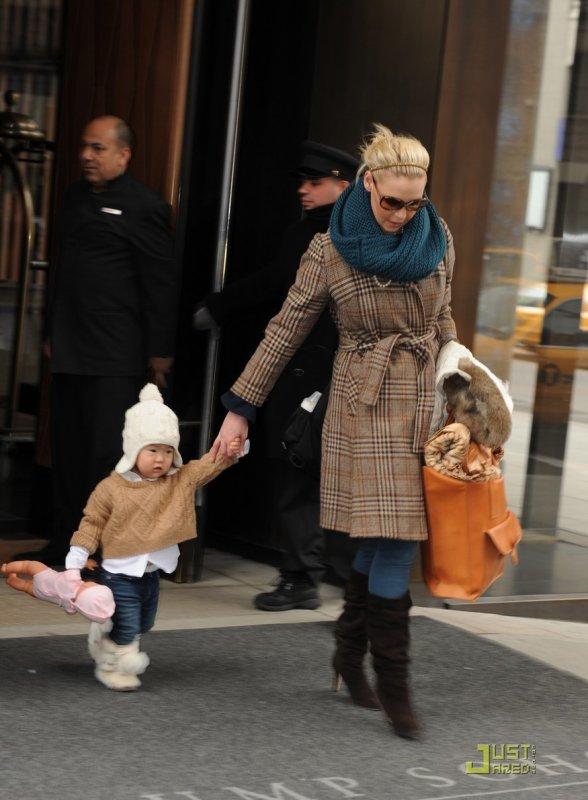 Katherine Heilg de sortie avec sa fille. New York