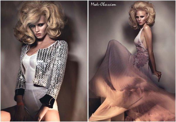 Lara Stone pose pour W magazine.