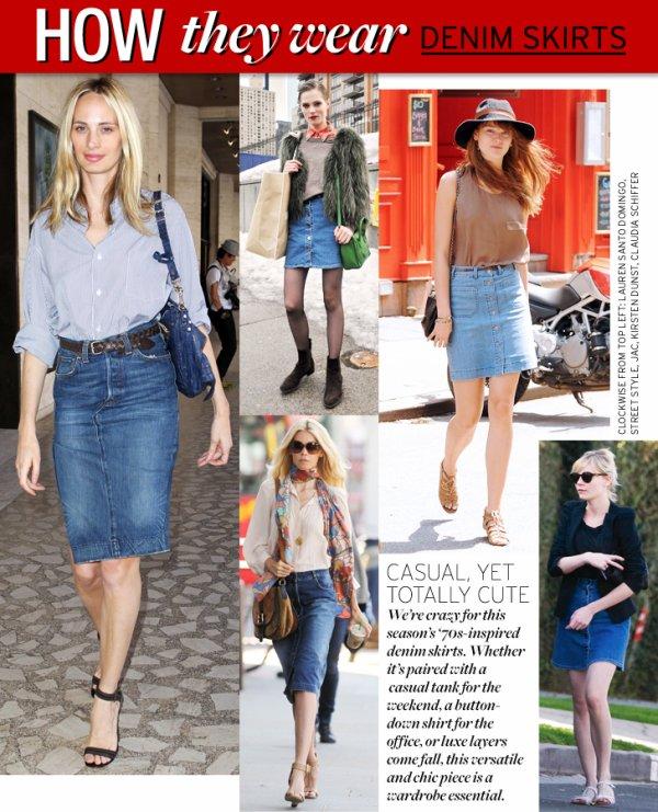Comment elles portent la jupe en jean.