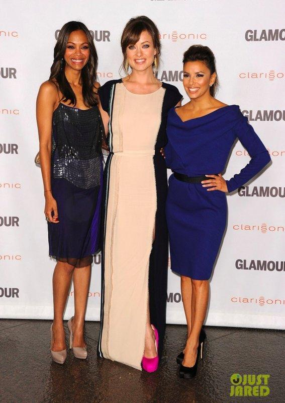 Zoe Saldana, Olivia Wilde et Eva Longoria à un évènement à Hollywood. Glamour Reel Moments premiere