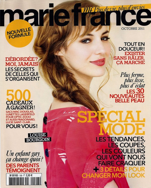 Louise Bourgoin en couverture de Marie France.