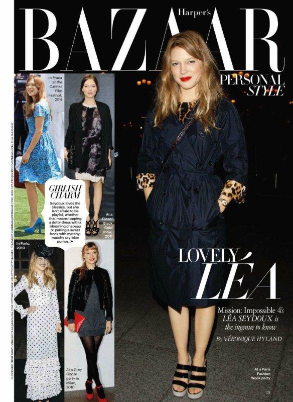 Léa Seydoux dans le magasine Harper's Bazaar.