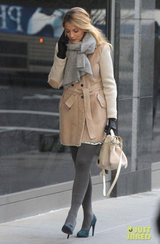 Blake Lively sur le tournage de Gossip Girl.