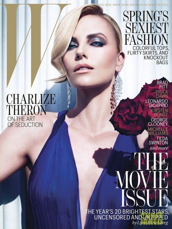 Brad Pitt et Charlize Theron posent pour W magazine.