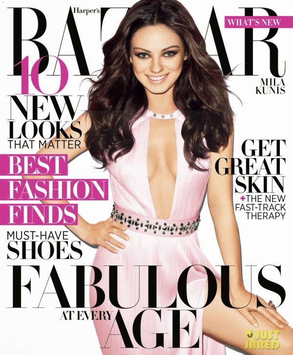 Mila Kunis pose pour Harper's Bazaar.