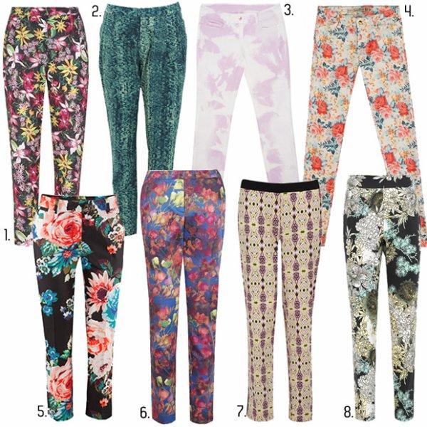 Sélection de pantalons imprimés. source : Madmoizelle.com