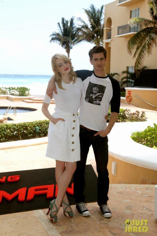 Andrew Garfield et Emma Stone à un photocall pour The Amazing Spiderman. Mexique