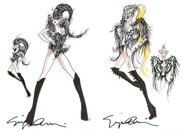 Giorgio Armani signe les costumes de la prochaine tournée de Lady Gaga.source : Vogue.fr