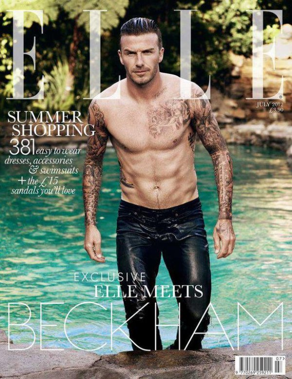 David Beckham pose pour ELLE.