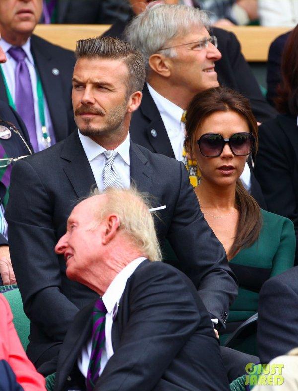 Les Beckham à un match de tennis. Londres