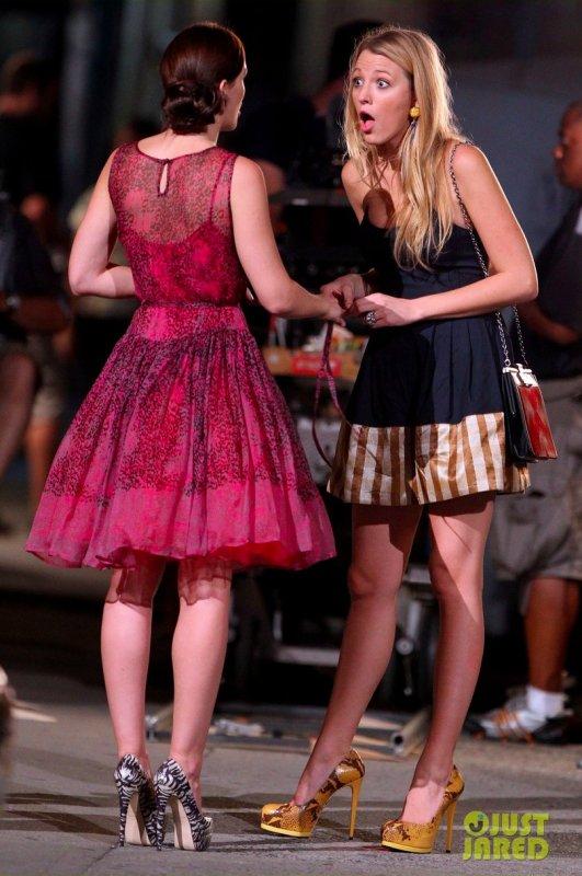 Sur le tournage de Gossip Girl.