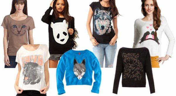 La tendance t-shirts à têtes d'animaux. source : Madmoizelle.com