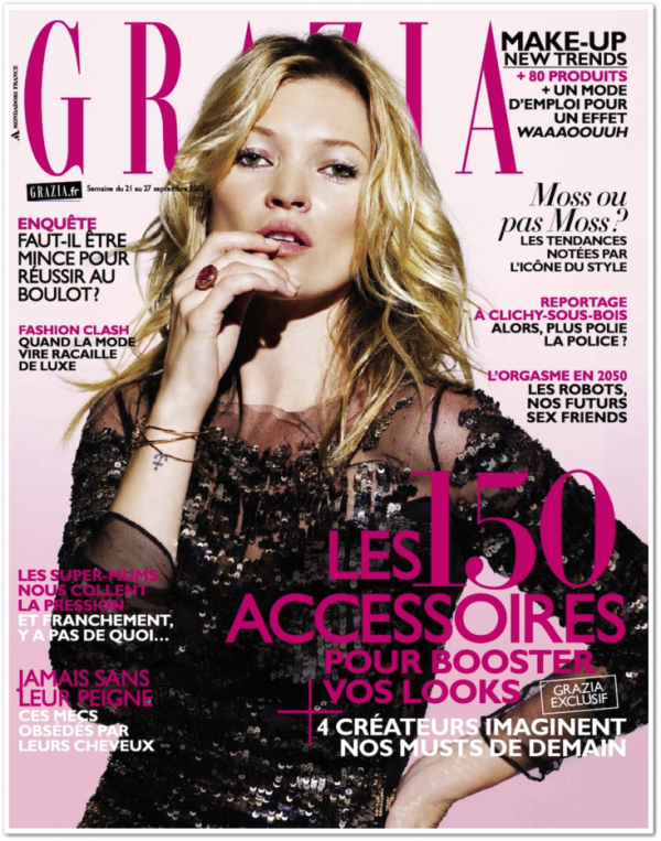 Kate Moss pose pour Grazia.