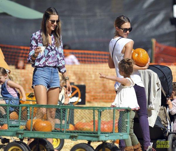 Alessandra Ambrosio et Jessica Alba achètent des citrouilles. Hollywood