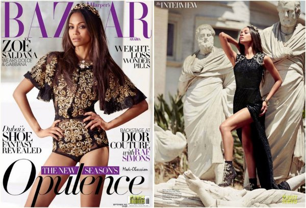 Zoe Saldana pose pour Harper's Bazaar.