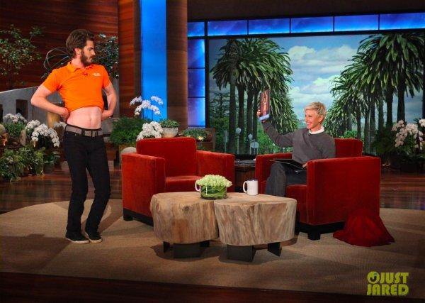 Andrew Garfield sur le plateau d'Ellen Degeneres.