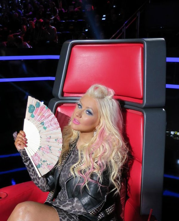 Christina Aguilera sur le plateau de The Voice.