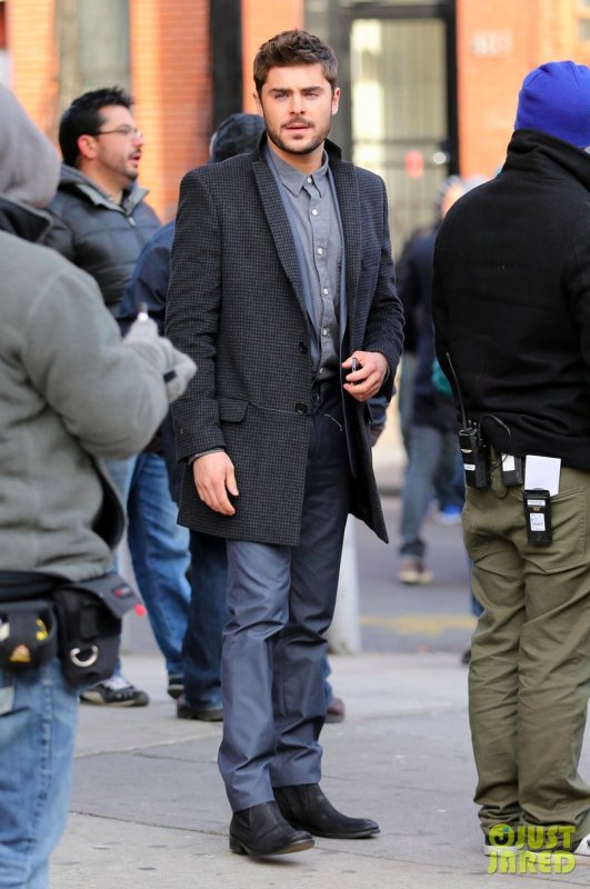 Zac Efron sur le tournage d'un film. Brooklyn, New York