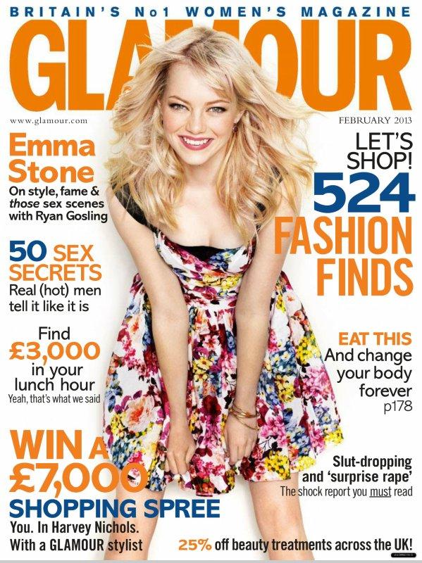 Emma Stone pose pour Glamour.