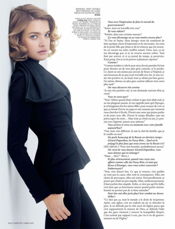 Natalia Vodianova pose pour L'Officiel.