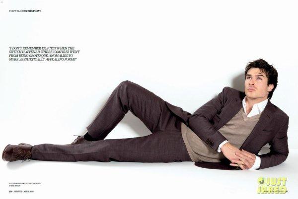 Ian Somerhalder pose pour Prestige.