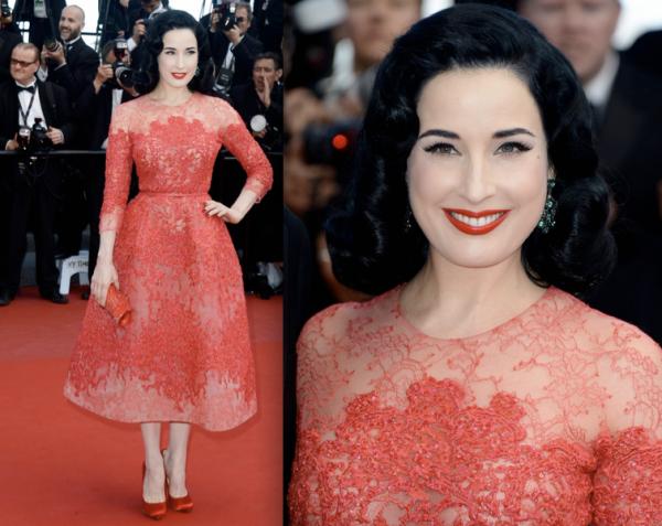 Dita Von Teese sur le tapis rouge. Cannes