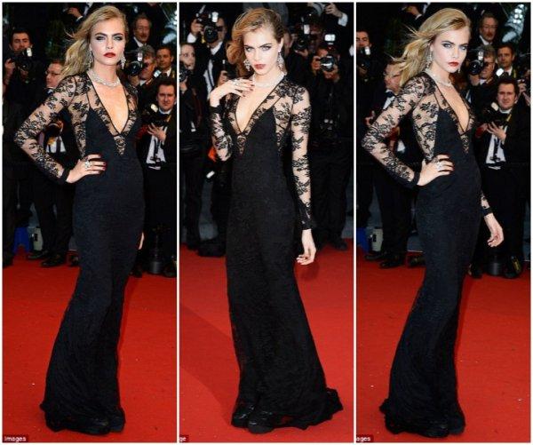 Cara Delevingne sur le tapis rouge. Cannes